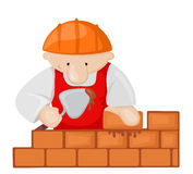 Cartoon bricklayer with trowel Royalty Free Stock Photos