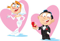 Cartoon bride and groom. The groom gives his bride a ring.Illustration done in cartoon style, on separate layers Stock Photos