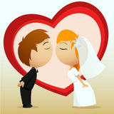 Cartoon bride and groom kiss. Vector illustration. Cartoon bride and groom kiss on heart shape background Stock Photo