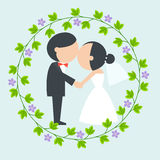 Cartoon bride and groom kiss Stock Photography
