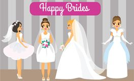 Cartoon brides. Happy females in fashionable wedding dresses. Attractive fiancee women.  Stock Images