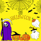 Cartoon, bright, colored death with a scythe, ghost, bats and pumpkins royalty free illustration
