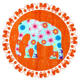 Cartoon bright decorative elephant vector. Cartoon bright decorative elephant in grunge orange round background, vector Royalty Free Stock Images