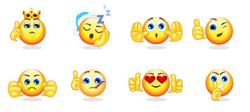 Cartoon Bright Emoticons Collection. With hand gestures and different emotions feelings and expressions isolated vector illustration Stock Photos