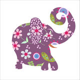 Cartoon bright floral  elephant,  illustration vec Royalty Free Stock Photography
