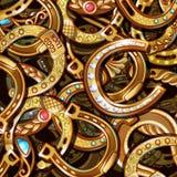 Cartoon Bright Ornate Gold Horseshoes Pattern Royalty Free Stock Image