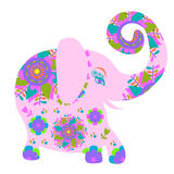 Cartoon bright pink  elephant with flower, Stock Photos