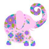 Cartoon bright pink  elephant with flower, Stock Photos