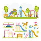 Cartoon bright playground full composition and separate elements Stock Photo