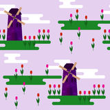 Cartoon bright purple windmill and tulips  on soft lilac cover seamless pattern background Stock Photos