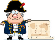 Cartoon British Admiral Treasure Map. A cartoon illustration of a British Admiral with a treasure map Royalty Free Stock Image