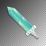 Cartoon broadsword isolated game element. Medieval weapon for computer game design. Fantasy battle sign vector illustration Royalty Free Stock Photography
