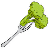 Cartoon Broccoli with Fork Royalty Free Stock Photo
