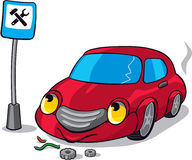 Cartoon Broken Car. Next to Auto Service Road Sign Royalty Free Stock Images