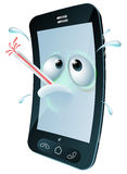 Cartoon broken mobile phone. An unwell mobile phone mascot character overheating and sweating with a thermometer in its mouth. Concept for a broken phone or one Stock Image