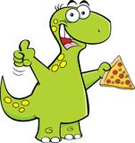 Cartoon brontosaurus holding a slice of pizza. Royalty Free Stock Images