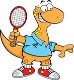 Cartoon brontosaurus playing tennis. Stock Photography
