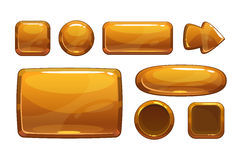 Cartoon bronze game UI assets. Metallic gui, isolated on white royalty free illustration