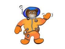 Cartoon brown bear astronaut Stock Images