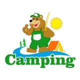 Cartoon Brown Bear camping Royalty Free Stock Image