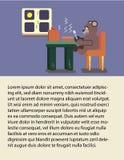 Cartoon brown bear eating soup at kitchen. Brochure, Cartoon bear eating soup at kitchen, Flat animal illustration Royalty Free Stock Photography