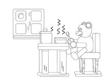 Cartoon brown bear eating soup at kitchen. Coloring page, Cartoon bear eating soup at kitchen, Flat animal illustration Royalty Free Stock Photography