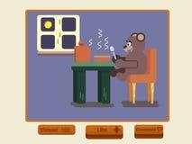 Cartoon brown bear eating soup at kitchen. Social media, Cartoon bear eating soup at kitchen, Flat animal illustration Stock Photo