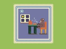 Cartoon brown bear eating soup at kitchen. Postage stamp , Cartoon bear eating soup at kitchen, Flat animal illustration Royalty Free Stock Image