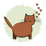 A cartoon brown cat on a blue background with hearts. Brush, Str Stock Image