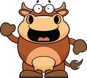Cartoon Brown Cow Happy Stock Image