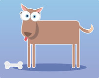 Cartoon brown dog with big eye Royalty Free Stock Image