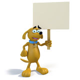 Cartoon brown dog holding sign. 3D rendering of adorably cute cartoon dog holding a blank sign Royalty Free Stock Photos