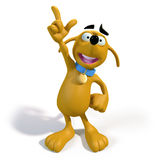 Cartoon Brown dog with an idea. 3d rendering of an adorably cute cartoon dog pointing skyward as if he had a brilliant idea Royalty Free Stock Images
