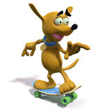 Cartoon brown dog skateboarding Royalty Free Stock Photos
