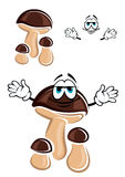 Cartoon brown forest mashroom character Royalty Free Stock Photo
