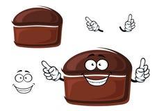 Cartoon brown homemade rye bread character Stock Photos