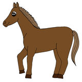 Cartoon brown horse vector isolated Royalty Free Stock Photos