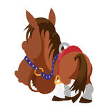 Cartoon brown horse. View from horse back. Harnessed brown horse.  View from horse back, cartoon vector image isolated Royalty Free Stock Photography