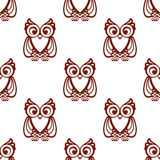Cartoon brown owl  seamless pattern Royalty Free Stock Photography