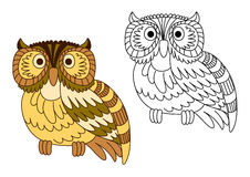 Cartoon brown short eared owl Royalty Free Stock Photo