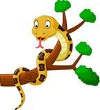 Cartoon brown snake on branch. Illustration of brown snake on branch stock illustration