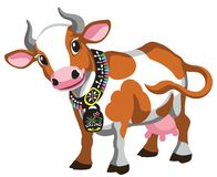 Cartoon brown spotted cow with bell stock illustration