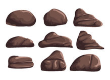 Cartoon brown stones on a white background to create any of the songs funny cartoon for filling your scenes or game Stock Images