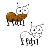 Cartoon brown worker ant insect. Cartoon little brown worker ant insect with smiling face and funny googly eyes. Insect character for mascot, children book or Stock Photos