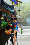 Cartoon brunette woman sitting at the bar in the tropics Royalty Free Stock Image