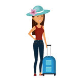 Cartoon brunette woman with travel briefcases and hat lace Royalty Free Stock Photo