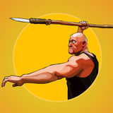 Cartoon brutal man aims to hold a spear in his hand. Cartoon brutal man aims to hold spear in his hand Stock Photos