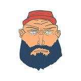 Cartoon Brutal Man Face with Beard and Red Hat. Vector Stock Photo