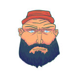 Cartoon Brutal Man Face with Beard and Red Hat. Vector Royalty Free Stock Photos