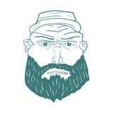 Cartoon Brutal Man Face with Beard. Vector Royalty Free Stock Image